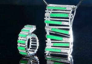 鄺美貞的成品公開組冠軍作品「線聚線序」設計高雅流麗、簡潔悅目。