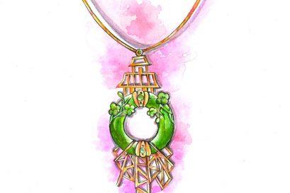 林咏怡的项链「时代反照」充满时尚感。