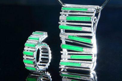 邝美贞的成品公开组冠军作品「线聚线序」设计高雅流丽、简洁悦目。