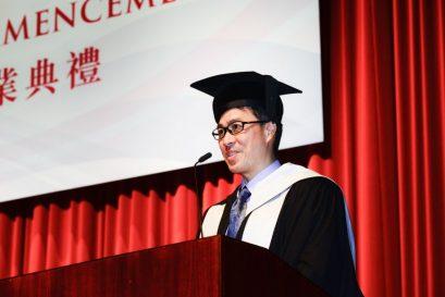 浸大持續教育學院署理院長曾瑞強博士致辭時勉勵畢業生延續浸大畢業生關愛和富同理心的精神。