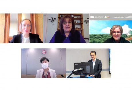 研讨会专题讲者包括 Claudia GIUDICI 教授、Claire WARDEN 博士及 Jena JAUCHIUS 女士(上排左起);苏婉仪女士及黎存志先生(下排左至右)。