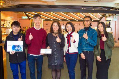 香港善導會副總幹事李淑慧女士(左三)及恒生銀行企業責任主管何卓惠女士(右三)頒發獎項予冠軍隊伍。