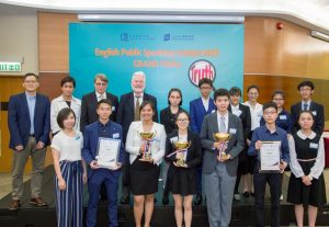 Judges of the Grand Final Dr. Matthew DeCoursey (third from left, 2nd row), Mr. Kevin Forde (fourth from left, 2nd row), Dr. Sidney Chan (first from left, 1st row) and the 12 finalists