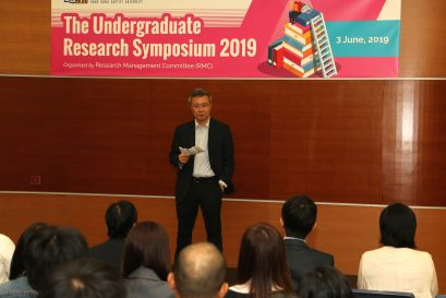 Prof Ronald CHUNG, Dean (SCE), gave welcome remarks at the opening of the Symposium.