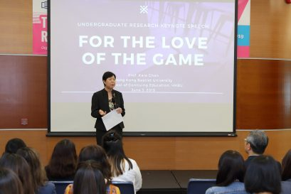 "Prof Kara CHAN, Professor and Programme Director (COMM), delivered a keynote address on ""For the Love of the Game""."